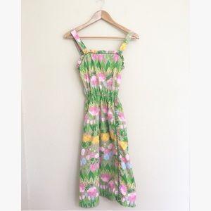 Vintage Tulip Print Floral Midi Sun Dress